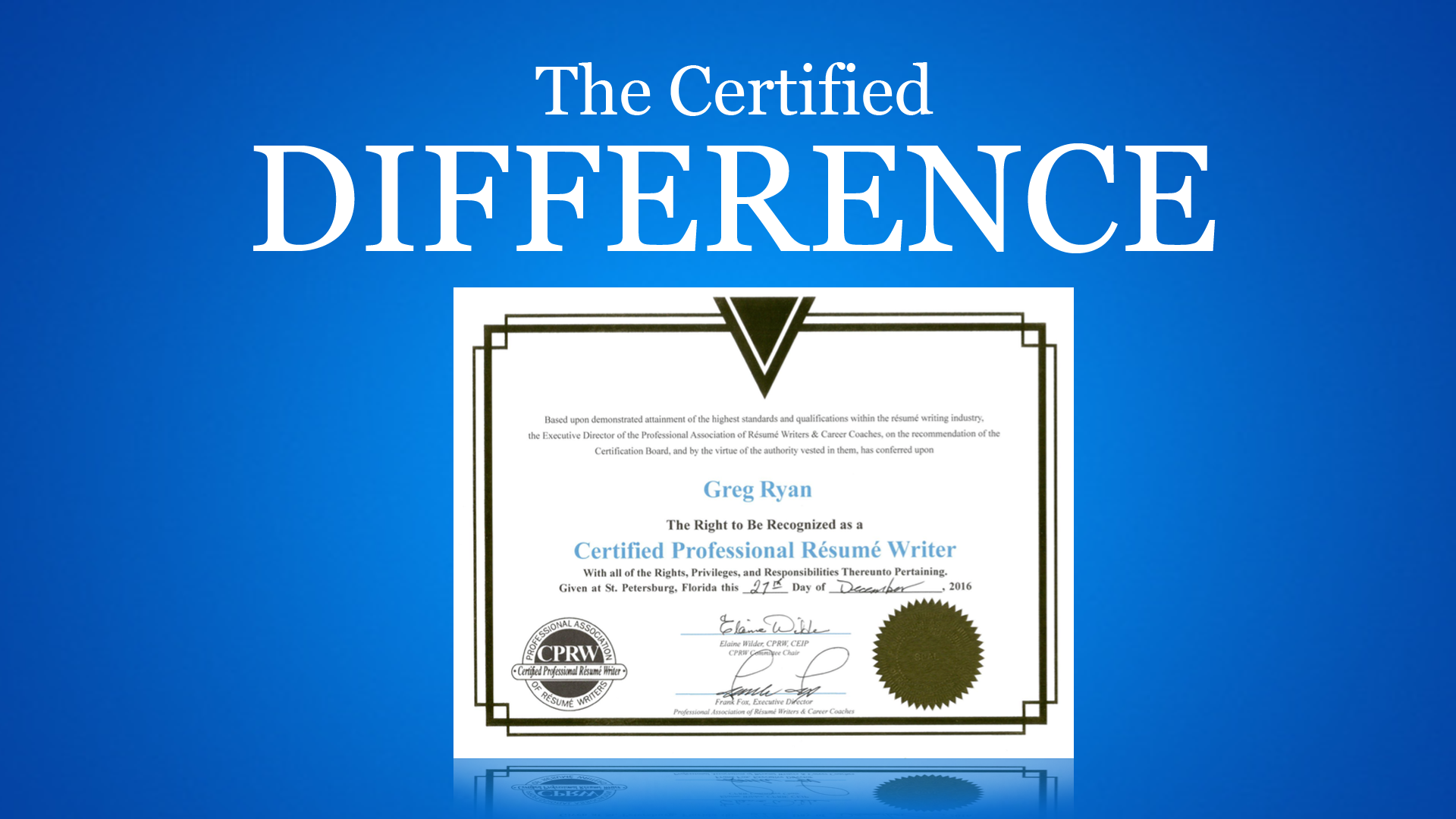 meet greg ryan - How To Become A Certified Professional Resume Writer